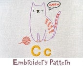 C Cat INSTANT DOWNLOAD PDF embroidery pattern