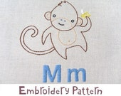 M Monkey INSTANT DOWNLOAD PDF embroidery pattern
