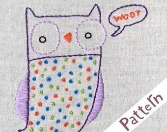 O Owl INSTANT DOWNLOAD PDF embroidery pattern
