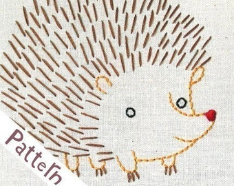 H Hedgehog INSTANT DOWNLOAD PDF embroidery pattern