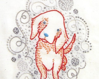 Golden puppy INSTANT DOWNLOAD PDF embroidery pattern