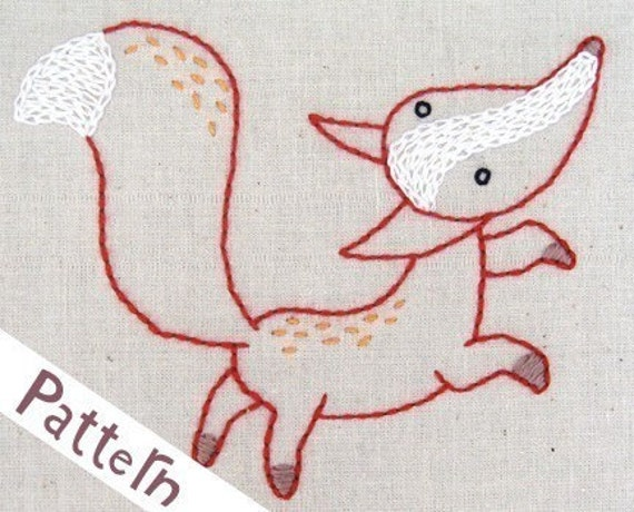 F Fox INSTANT DOWNLOAD PDF embroidery pattern