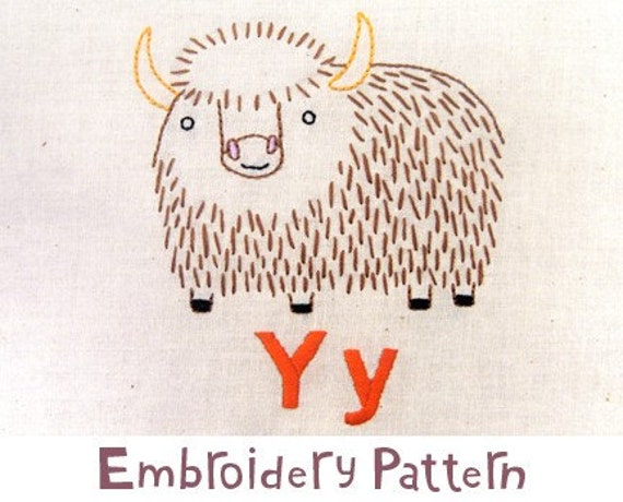 Y Yak INSTANT DOWNLOAD PDF embroidery pattern