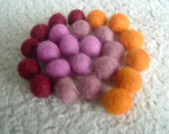 Handmade Felted Wool Felt Beads 1 Cm. Pink Yellow Red