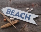 White beach sign with navy blue letters  Lake Ocean nautical