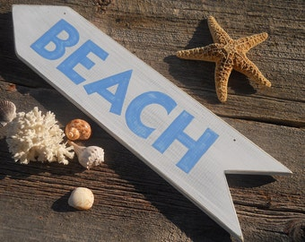 Beach Sign white with light blue letters nautical