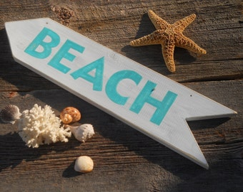 Beach Sign white with light teal letters nautical cottage