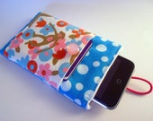Gadget case in aqua polka dots with absurdly adorable monkey fabric - upcycled vintage materials