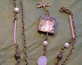 Pale Pink Pearl and Hand Soldered Charm Necklace