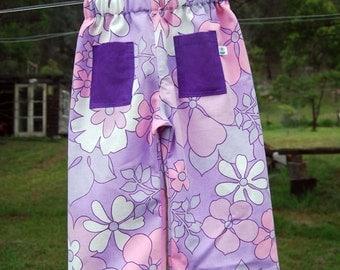 summer pants - size 2 purple flowers