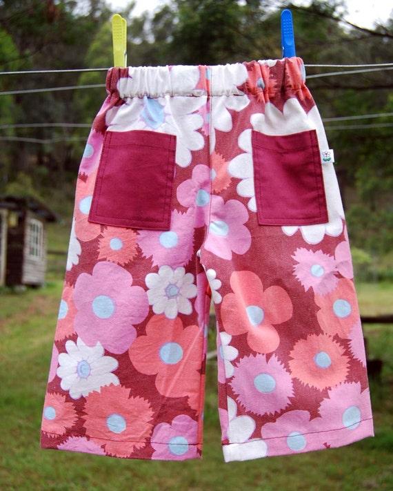 summer pants - size 1 maroon flowers