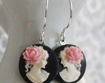Vintage Cameo Sterling Silver Earrings - Lady in White