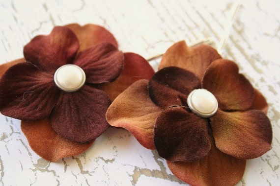 Chocolate Caramel Blossoms - Set of 2 Hairpins