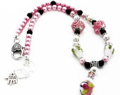 ON SALe and FREe SHIP Lampwork Necklacepink black white handmade LN066
