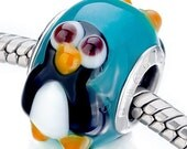 Authentic Pugster penguin lampwork bead
