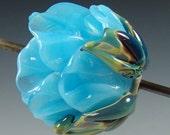 Pastel Blue...handmade sculpted lampwork rose focal bead