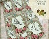 Vintage Scissors Digital Tag Set