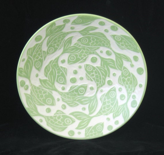 Flared Serving Bowl with Light Green Fish- Discount