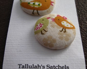 Wearable Sew On Fabric Covered Buttons - Size 45 Birds