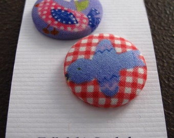 Wearable Sew On Fabric Covered Buttons - Size 45 Red and Blue Birds