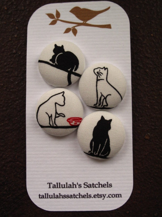 Wearable Sew On Fabric Covered Buttons - Size 36 Black and White Cats
