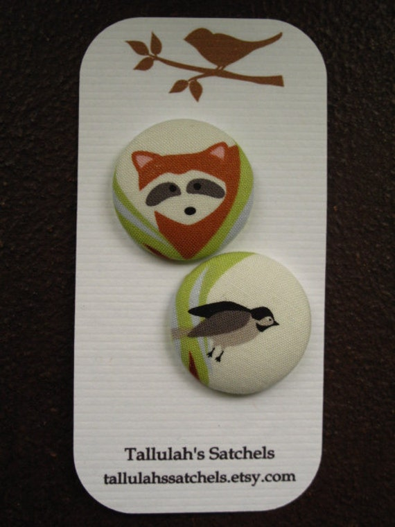 Wearable Sew On Fabric Covered Buttons - Size 45 Raccoon and Sparrow