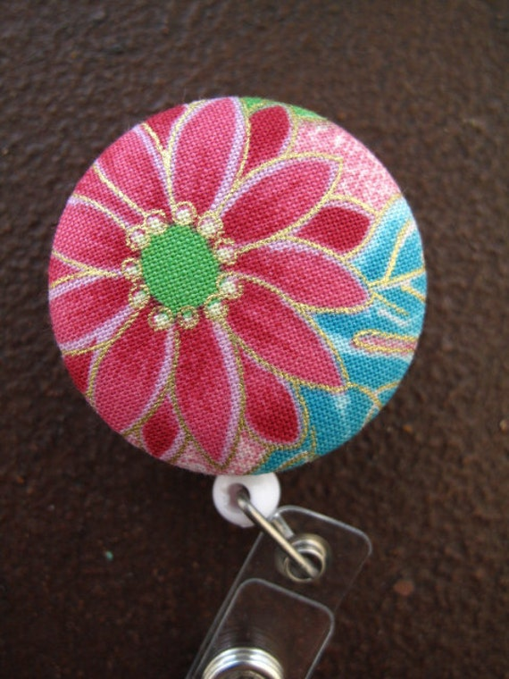Clip On Retractable Badge Reel / Lanyard with Fabric Covered Button -  Large Pink Flowre with Green and Gold