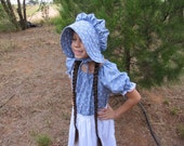 Handmade Girls Country Blue Pioneer Dress Bonnet and Apron Set child size 5 to 6