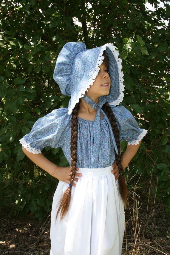 Handmade Girls Blue Calico Pioneer Dress Bonnet and Apron Set