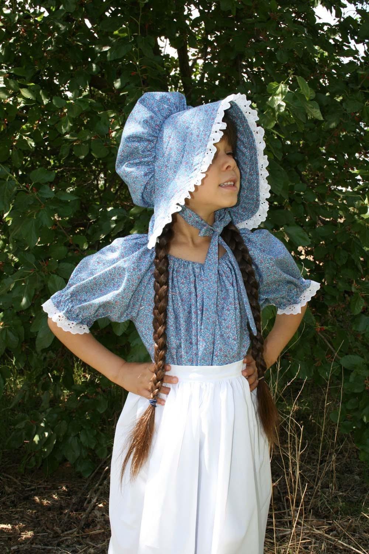 Handmade Girls Blue Calico Pioneer Dress Bonnet and by sewsecret