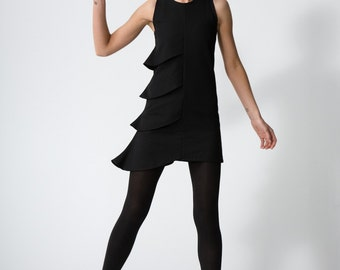 Asymmetrical Tiered Dress - black - made to order