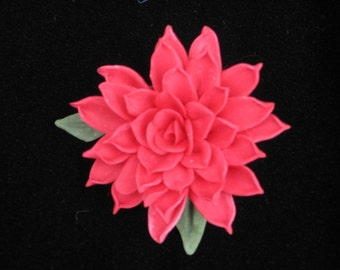 Red Cold Porcelain Dahlia Pin