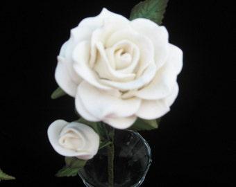Rose White Handmade Bread Dough Gift Wedding