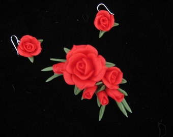 Red Rose Cluster Pin and Earring Set