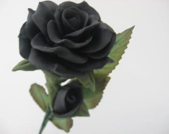Rose Black Handmade Bread Dough Decor Gift