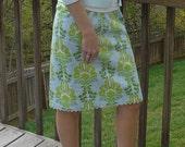 Ladies lime & blue cotton skirt S / M
