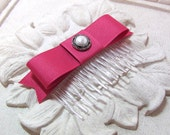 Rose Pink  Bow Hair Comb. Pearl Button Accent.  Grosgrain ribbon. Fascinator. Berry.