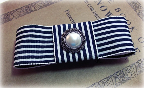 Navy Blue and Ivory Striped Bow French Barrette. Bow Hair Clip. Stripes. LAST ONE