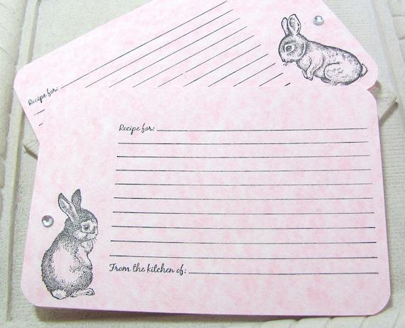 SALE. Handmade Recipe Cards. Bunny.  Rabbit. Set of 6. OOAK. Light Pink