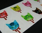 DEAD Zombie KITTY heads handmade sticker set of 10