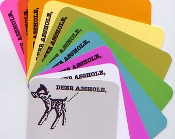 Deer A**hole stationery set of 5 with envelopes MATURE