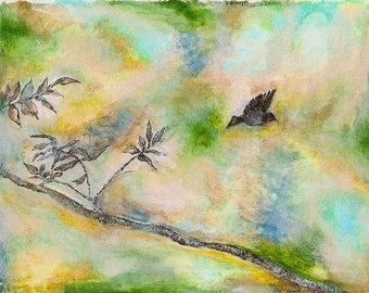lonely bird in flight -original