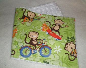 Burp Cloth Monkey Flannel and Chenille Sale