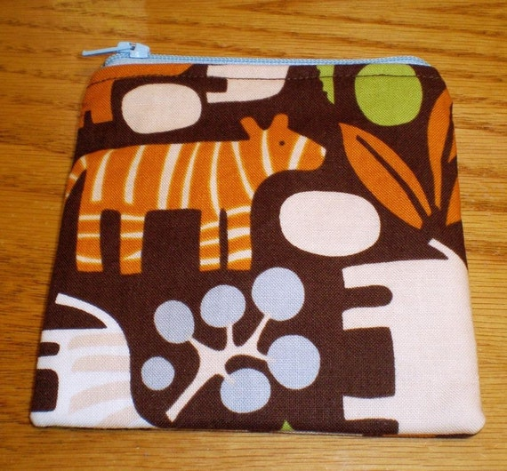 Small Coin Zip Pouch Michael Miller Zoology Sale Flawed
