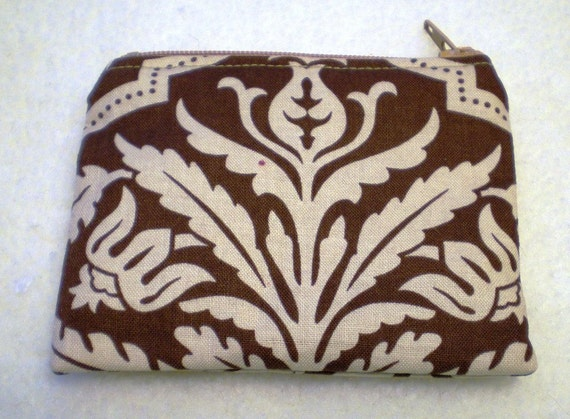 Small Zipper Pouch Coin Joel Dewberry Brown Damask Sale Flawed