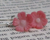 Pink Coral Sunflower Earrings