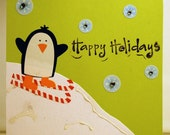 BLACK FRIDAY SALE Holiday Winter Card - Penguin Skiing on Candy Canes