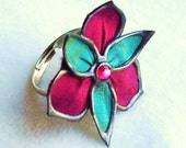 Hotness fabric flower ring - large