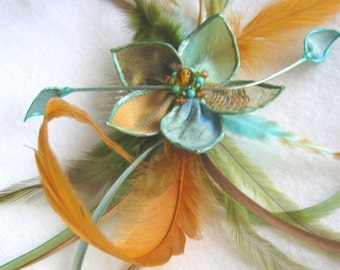SALE Woodland Pixie - feathered flower fascinator