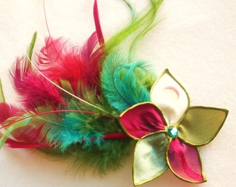 SALE Pop Peacock - feathered flower fascinator